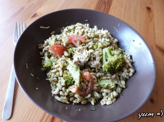 Pesto Chicken Barley Salad