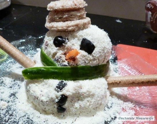 my cheese ball snow man