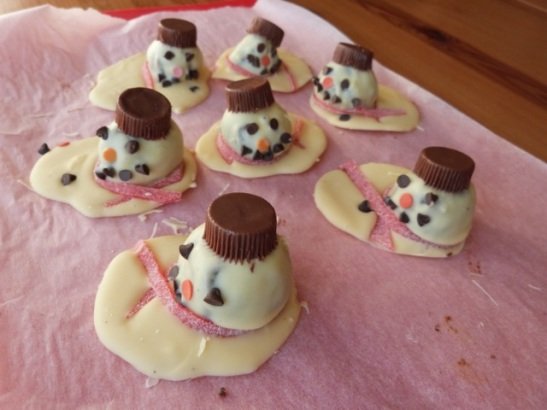 melted snowman truffles