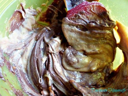 Nutella Peanut Butter Pretzel Clusters - swirled